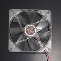 Wholesale Durable New DC12V mm LED Blue Light CPU Cooling Fan Computer PC Clear Case Quad CM Heatsink Free Shiping