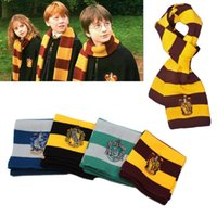 Wholesale Hot Harry Potter Scarf Scarves Gryffindor Hufflepuff Slytherin Knit Scarves Cosplay Costume Gift for Teenagers stripe scarf cotton college