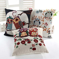 Wholesale Owl Cushion Cover No Insert Linen Cotton designs Animal cushion cover vintage Home Sofa Car Seat Decor Cushion Cover
