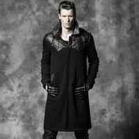 Wholesale Bat Straight Long Wind Coat Gothic Punk Black Woolen Coats Leather Lapel Neck Men Classic Coat Y