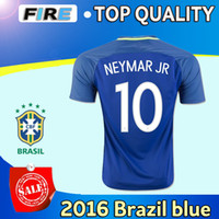 2016 Tailandia calidad Brasil equipo nacional jerseys uniformes Uniformes lejos de casa azul PELE Neymar Jr Silva David Luiz Hulk Oscar camisetas de fútbol