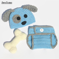 baby dog photos - Adorable Blue Puppy Newborn Outfits Handmade Knit Crochet Baby Boy Girl Animal Dog Beanie and Diaper Cover Set Infant Halloween Photo Prop