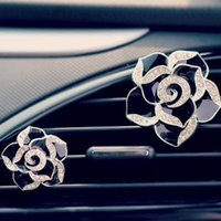 Wholesale NEW Car Perfume Camellia Flower Stand Air Freshener Car Purifier Scent Decoration Vent Cartoon Clip Cute Doll