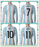 america products - New Product Argentina HIGUAIN DI MARIA MESSI Blue white stripe Jerseys Soccer Jersey Long Sleeve Copa America Jersey