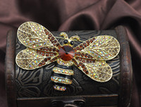 Wholesale 2016 New Fashion Big Size Crystal Bee Brooches Pins For Women Rhinestone Animal Pins