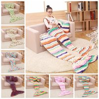 baby sofas - Kids Mermaid Blankets Children Sleeping Bag Baby Soft Mermaid Tail Blankets Nap Sofa Blankets Bedding Living Room Bedroom Blankets E3