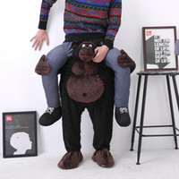 Wholesale black orangutans chimpanzee Gorilla Stuffed Ride On Me Stag Mascot costume fancy dress Carry Me Piggy Back Novelty Costume for Purim Party