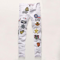 air force badge - New White Mens Jeans Air Force Badge Cotton Slim Fit jeans for men Patches Distressed Ripped Embroidery Men jeans Plus size