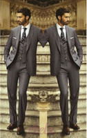 best office pants - Custom Made Charcoal Grey Groom Tuxedos Groomsmen Best Man Men Wedding Suits Office Formal Bridegroom Suit piece Jacket Pants Vest