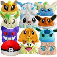 Wholesale Poke Plush Hats Pikachu Eevee Gengar Cosplay Beanie Caps Cute Cartoon Poke Go Plush Caps Hats For Xmas Gift