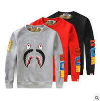 Wholesale 2016 clothing Shark Hoodies hip hop clothing Cartoon patch camouflage mens designer shirts tracksuit plus size black red gray blue