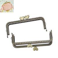 Wholesale Petty x1PC New Metal Frame Kiss Clasp Arch For Purse Bronze Heart Pattern cm x cm