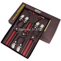 Wholesale New Men s suspenders casual clips braces leather suspensorio Adjustable Belt Strap bretelles ligas Tirantes cm colors