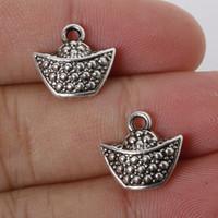 alloy ingot - New x14mm Zinc Alloy Antique Silver Ingot DIY Charms Pendants jewelry making DIY