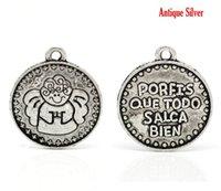 bien spanish - Retail Antique Silver quot porfis que todo salga bien quot Spanish Boy Angel Charm Pendants x19mm quot x3 quot sold per pack of