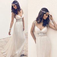 Wholesale Cheap Plunge Dresses - Ivory Prom Dresses Long Cheap Spaghetti Plunging Neckline Backless Evening Dresses 2016 Sexy Beaded Sequins Crystal Bling Luxury 6978