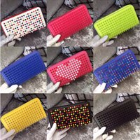 Wholesale Studded Bag Free Shipping - Free shipping mixed color rivets wallet genuine leather spike purse designer red studded clutch lady's fashion rivets purses