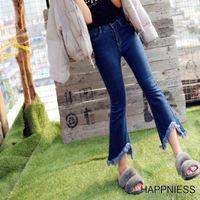 american girl boots - New Arrival South Korea Fashion Irregular Flared Tassel Jeans Girl Denim Boot Cut Pants Bell Bottoms Waist Denim Trousers Female