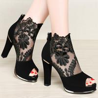 achat en gros de chaussures sexy en dentelle haut talon-Hot Sale Womens 'Court Shoes Top Mode Dames Talons hauts Chaussures Sexy Lace Mesh Hollow Peep Toe avec du matériel importé Livraison gratuite