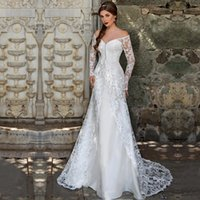 Cheap 2016 Two Pieces Wedding Dresses With Lace Overcoat Long Sleeve Beading Applique Off Shoulder Sweep Train Bridal Gowns