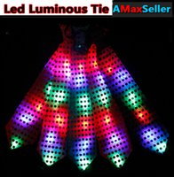 Wholesale Newest Led Luminous Neck Tie Mixcolor Flashing Male Female Fashion Tie Bar Party Dancing Stage Glowing Tie for Christmas Halloween