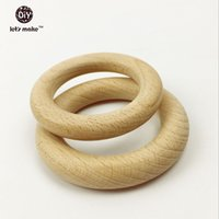 Cheap Beech wooden ring teether Nature Organic (70mm)Baby Teething Toy Accessories For Necklace Bracelet Eco-friendly Unfinished Wood