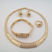 african american weddings - High Quality Jewelry Sets K Gold Plated Necklace Jewelry Sets For Female Weddings Reunions Four Set Gift