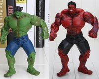 Wholesale 10 quot Red and green Hulk Action Figure The Avengers PVC Figure Toy Hands Adjusted Movie Lovers Collection