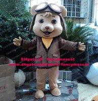 aviator shirt - Chuffed Gray Aviator Dog Pilot Puppy Flier Pup Doggie Mascot Costume Cartoon Character Mascotte Yellow Shirt Big Jacket No