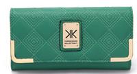 Wholesale fashion brand kim kardashian kollection leather wallets plaid long design purse high quality women kk wallet