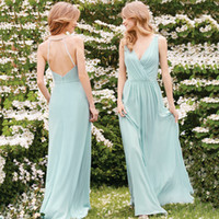 affordable gowns - Mint Green Backless Bridesmaid Dresses Beaded V Neck A Line Chiffon Maid Of Honor Gowns Floor Length Affordable Occasion Dress