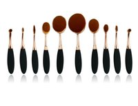 Wholesale 10 Professional Soft beauty Makeup Brush Sets Foundation Brushes Cream Contour Powder Blush Lip Concealer Oval Brushes black gold