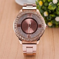 Wholesale Women Dress Watch Steel Quartz Watch Inner Matte Stainless Steel Diamond Watch Relogio Feminino Luxury Brand Clock Girl Gift