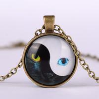 Temps Gems Vintage Tai Chi Cat Verre Visage Oeil Cabochon Or Argent Bronze chaîne collier pendentif de Nice Bijoux Cadeau Accessary pour les femmes Fille