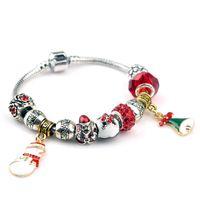 bell charm bracelet - Snowman Bell Christmas Charms Bracelets Silver Bracelet Glass Crystal European Charm Beads Fits Charm bracelets Style Bracelets