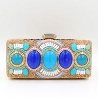 big purses sale - hot sale Handmade Evening Clutch Purse Crystal Chain Fashion luxury lady Designer rhinestone glittering big stone beaded Evening Bag