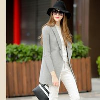 Wholesale New Designer Panel Winter Coat Fashion Grey Wool Trench Coats Slim Knit Long Sleeve One Button Jacket Outwear Overcoat