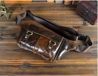 Wholesale W719 Genuine Leather Cowhide Waist Bag For Men Real Fanny Pack Tactical Bags Running Bum Leg Sports Small Travel Pocket Wallet