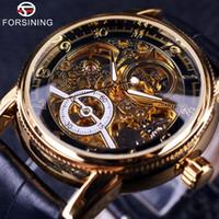 analog gear - 2016 Forsining Hollow Engraving Skeleton Casual Designer Black Golden Case Gear Bezel Watches Men Luxury Brand Automatic Watches