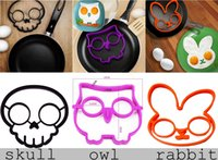 Wholesale Cooked Fried egg rabbit Skull owl shaper silicone moulds egg ring silicone mold cooking tools christmas supplies Fried Egg Mold Pancake