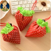 Wholesale A344 Korean large capacity portable folding shopping bag strawberry cute fashion waterproof bag
