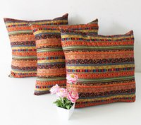 Wholesale Ethnic Style Cotton Linen Stripe Cushion Cover Washable Customizes Sofa Cushion Cover Pillow Cover MOQ piece