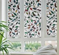Wholesale Static Window Films Cane Leaves Meters PVC Films Glass Sticker Non glue Fork Art Glass Poster