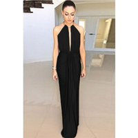 Wholesale Black Gown Sexy Dress Attractive Choiceness Design Classic Hanging Round Collar Sleeveless Neck Backless Dress Long Skirt For Party