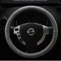 beige color wheel - Genuine Leather Steering Wheel Covers For Diameter cm Black Beige Gray Color for BMW Buick Cruze Volkswagen Steering Wheel High Quality
