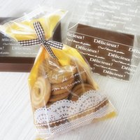 bakery food supplies - bakery package yellow lace decoration food dessert cookie candy packing bag gift flat bags supply