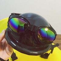 Wholesale New Arrival Dog Helmets for Motorcycles with Sunglasses Cool ABS Fashion Pet Dog Helmet Multi Color Plastic Pet Protect Hat