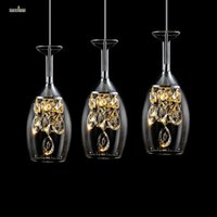 Wholesale Wine glass Modern Pendant Chandelier LED Crystal Chandeliers Three Head Disc Tray and Rectangular Plate Optional