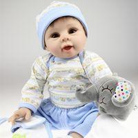 Cheap High Quality 22Inches 55CM Handmade Soft Silicone Lifelike Baby Reborn Doll Toys Children Girls Boys Birthday Gifts Real Dolls