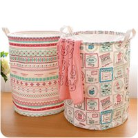 Wholesale 7 Types Foldable Cotton Linen Washing Clothes Laundry Basket Bag Hamper Storage Multi function Handle Stackable Storage Toy Storage Box